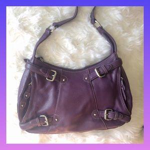 Maxx New York Signature Purple Leather Purse/hobo